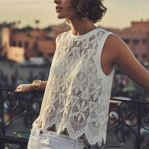 Anthropologie Bria Scalloped Lace Tank S R0734